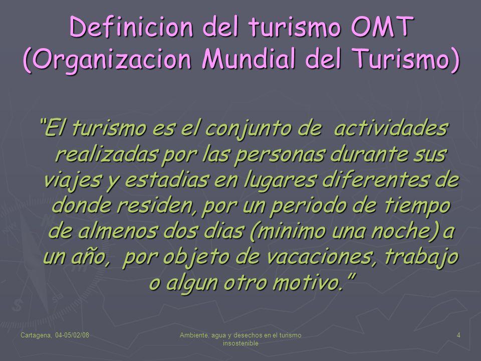 Cartagena, 04-05/02/08Ambiente, agua y desechos en el turismo insostenible 4 Definicion del turismo OMT (Organizacion Mundial del Turismo) El turismo