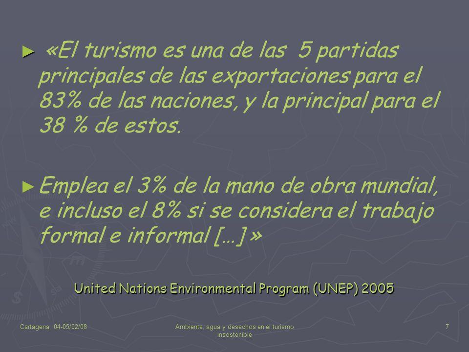 Cartagena, 04-05/02/08Ambiente, agua y desechos en el turismo insostenible 7 «El turismo es una de las 5 partidas principales de las exportaciones par