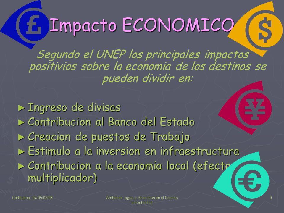 Cartagena, 04-05/02/08Ambiente, agua y desechos en el turismo insostenible 9 Impacto ECONOMICO Segundo el UNEP los principales impactos positivios sob