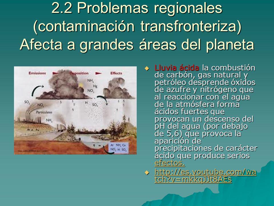 2.2 Problemas regionales (contaminación transfronteriza) Afecta a grandes áreas del planeta Lluvia ácida la combustión de carbón, gas natural y petról