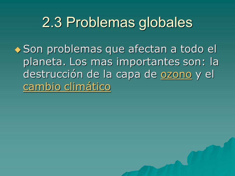 2.3 Problemas globales Son problemas que afectan a todo el planeta. Los mas importantes son: la destrucción de la capa de ozono y el cambio climático