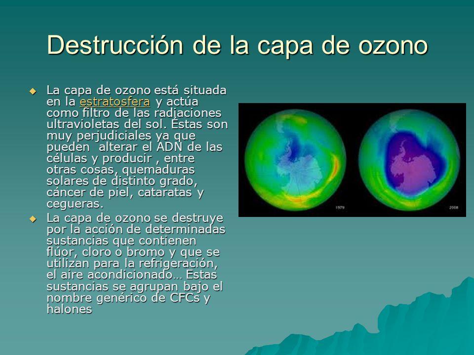 Destrucción de la capa de ozono La capa de ozono está situada en la estratosfera y actúa como filtro de las radiaciones ultravioletas del sol. Éstas s