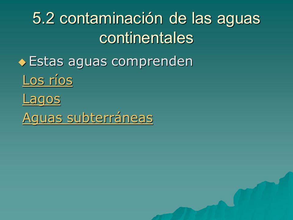 5.2 contaminación de las aguas continentales Estas aguas comprenden Estas aguas comprenden Los ríos Los ríosLos ríosLos ríos Lagos LagosLagos Aguas su