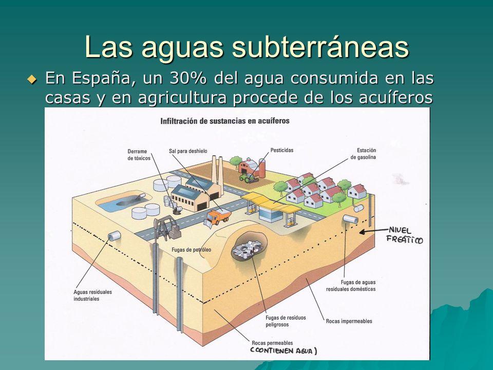 Las aguas subterráneas En España, un 30% del agua consumida en las casas y en agricultura procede de los acuíferos En España, un 30% del agua consumid