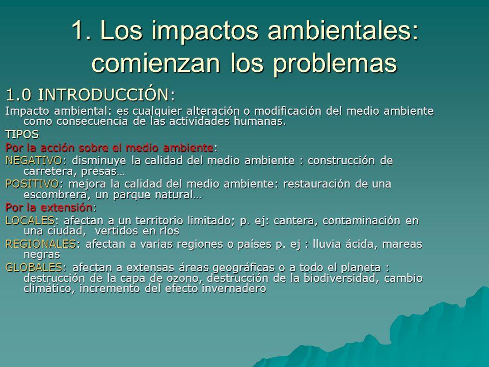 1. Los impactos ambientales: comienzan los problemas 1.0 INTRODUCCIÓN: Impacto ambiental: es cualquier alteración o modificación del medio ambiente co
