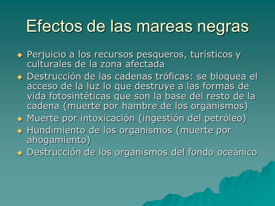 Efectos de las mareas negras Perjuicio a los recursos pesqueros, turísticos y culturales de la zona afectada Perjuicio a los recursos pesqueros, turís