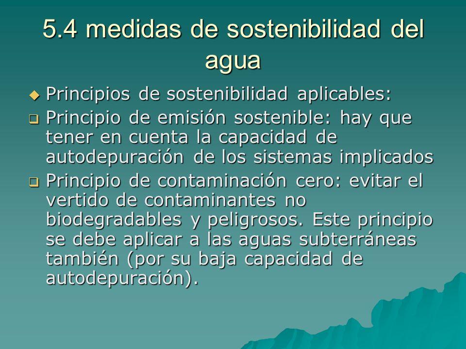 5.4 medidas de sostenibilidad del agua Principios de sostenibilidad aplicables: Principios de sostenibilidad aplicables: Principio de emisión sostenib