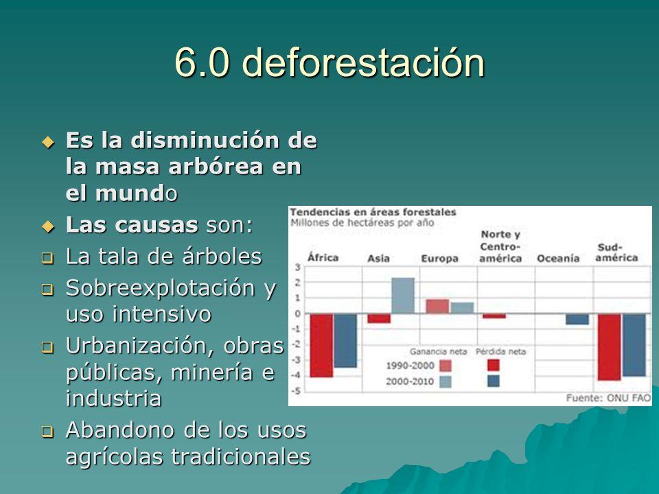 6.0 deforestación Es la disminución de la masa arbórea en el mundo Es la disminución de la masa arbórea en el mundo Las causas son: Las causas son: La