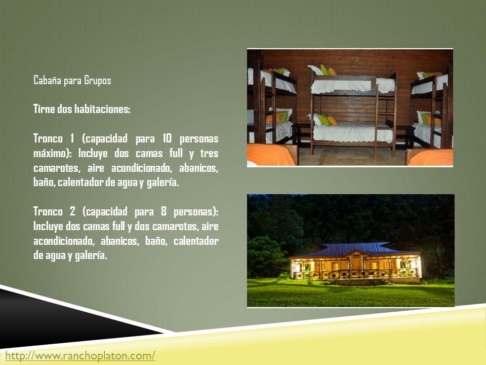 Cabaña para Grupos Tirne dos habitaciones: Tronco 1 (capacidad para 10 personas máximo): Incluye dos camas full y tres camarotes, aire acondicionado, abanicos, baño, calentador de agua y galería.