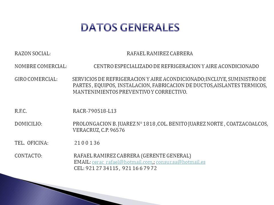 RAZON SOCIAL: RAFAEL RAMIREZ CABRERA NOMBRE COMERCIAL: CENTRO ESPECIALIZADO DE REFRIGERACION Y AIRE ACONDICIONADO GIRO COMERCIAL: SERVICIOS DE REFRIGE