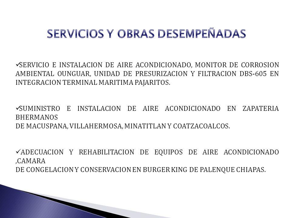 SERVICIO E INSTALACION DE AIRE ACONDICIONADO, MONITOR DE CORROSION AMBIENTAL OUNGUAR, UNIDAD DE PRESURIZACION Y FILTRACION DBS-605 EN INTEGRACION TERM