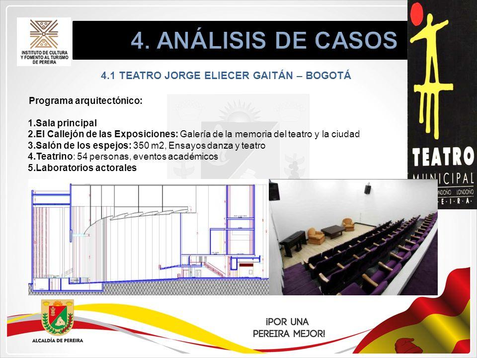 4.1 TEATRO JORGE ELIECER GAITÁN – BOGOTÁ Programa arquitectónico: 1.Sala principal 2.El Callejón de las Exposiciones: Galería de la memoria del teatro