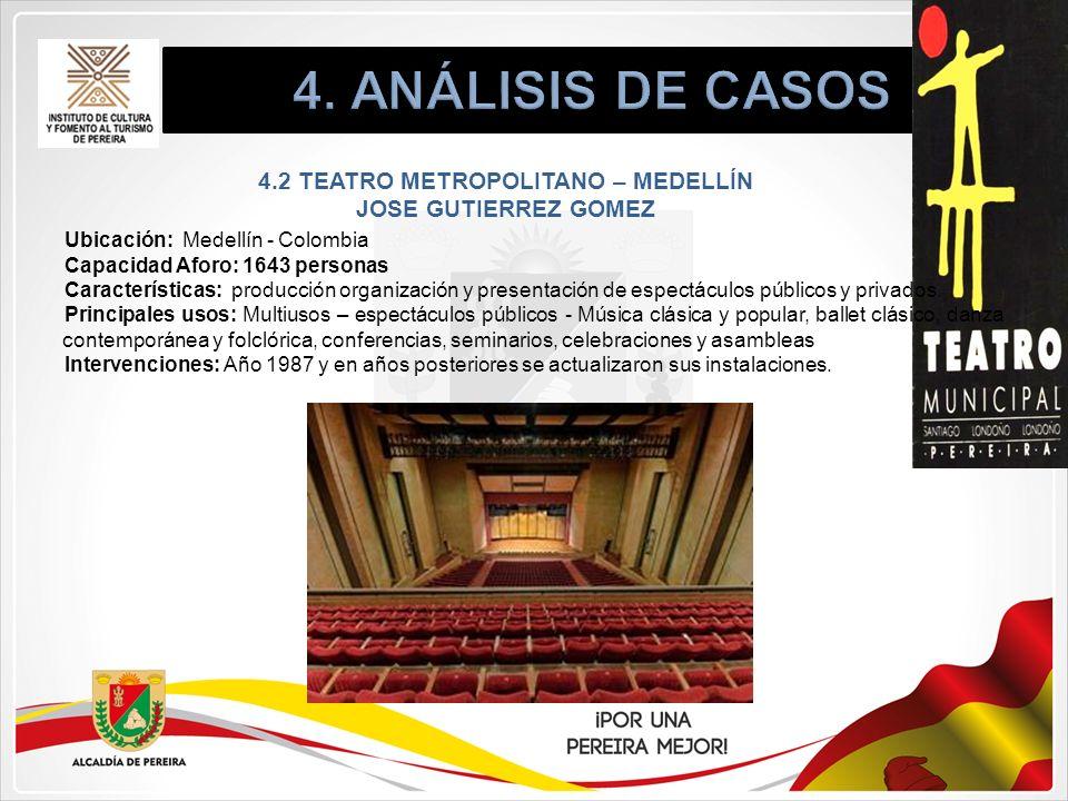 4.2 TEATRO METROPOLITANO – MEDELLÍN JOSE GUTIERREZ GOMEZ Ubicación: Medellín - Colombia Capacidad Aforo: 1643 personas Características: producción org