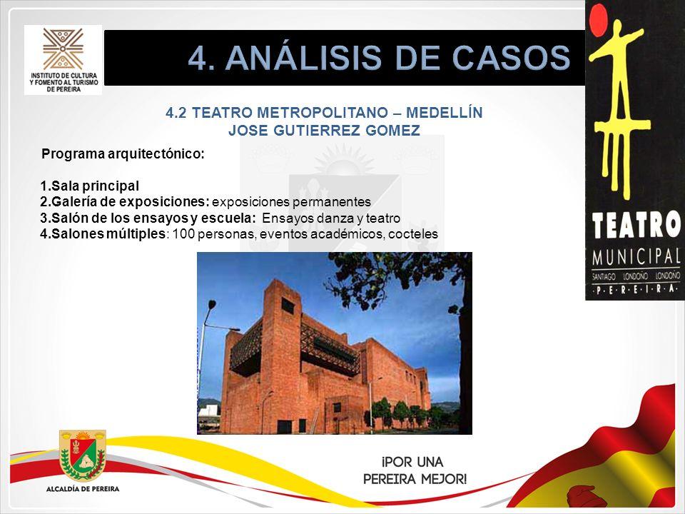 4.2 TEATRO METROPOLITANO – MEDELLÍN JOSE GUTIERREZ GOMEZ Programa arquitectónico: 1.Sala principal 2.Galería de exposiciones: exposiciones permanentes
