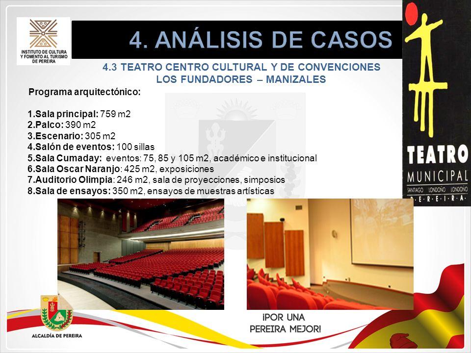Programa arquitectónico: 1.Sala principal: 759 m2 2.Palco: 390 m2 3.Escenario: 305 m2 4.Salón de eventos: 100 sillas 5.Sala Cumaday: eventos: 75, 85 y