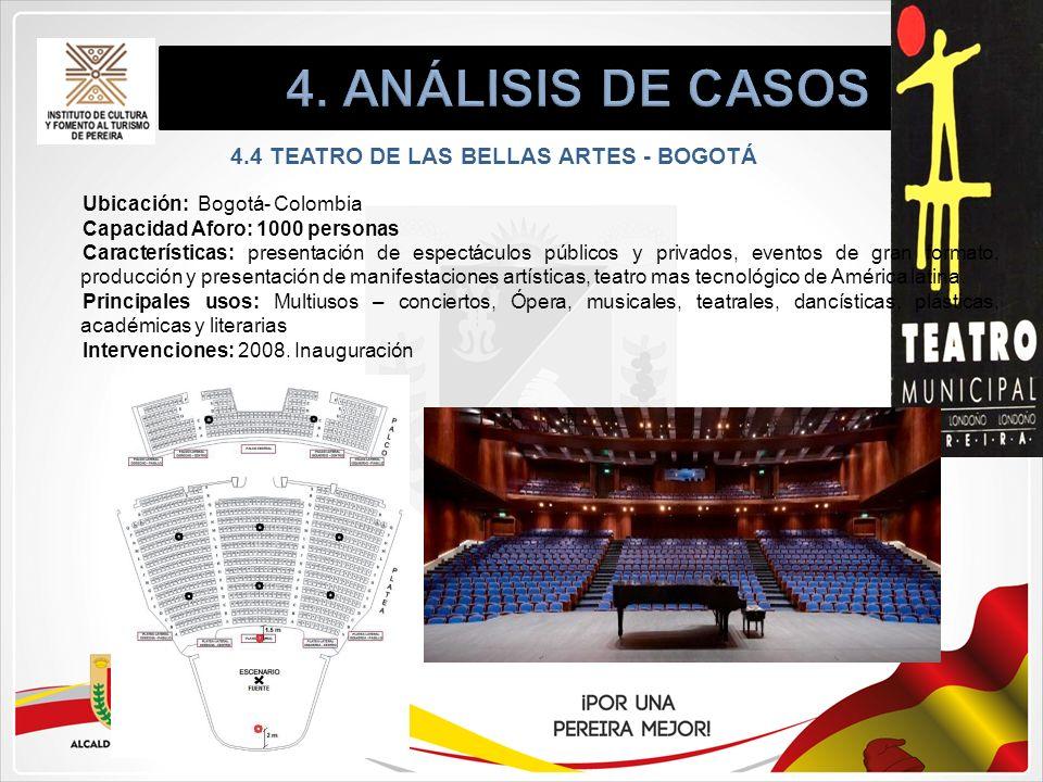 4.4 TEATRO DE LAS BELLAS ARTES - BOGOTÁ Ubicación: Bogotá- Colombia Capacidad Aforo: 1000 personas Características: presentación de espectáculos públi