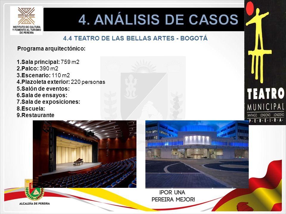 Programa arquitectónico: 1.Sala principal: 759 m2 2.Palco: 390 m2 3.Escenario: 110 m2 4.Plazoleta exterior: 220 personas 5.Salón de eventos: 6.Sala de