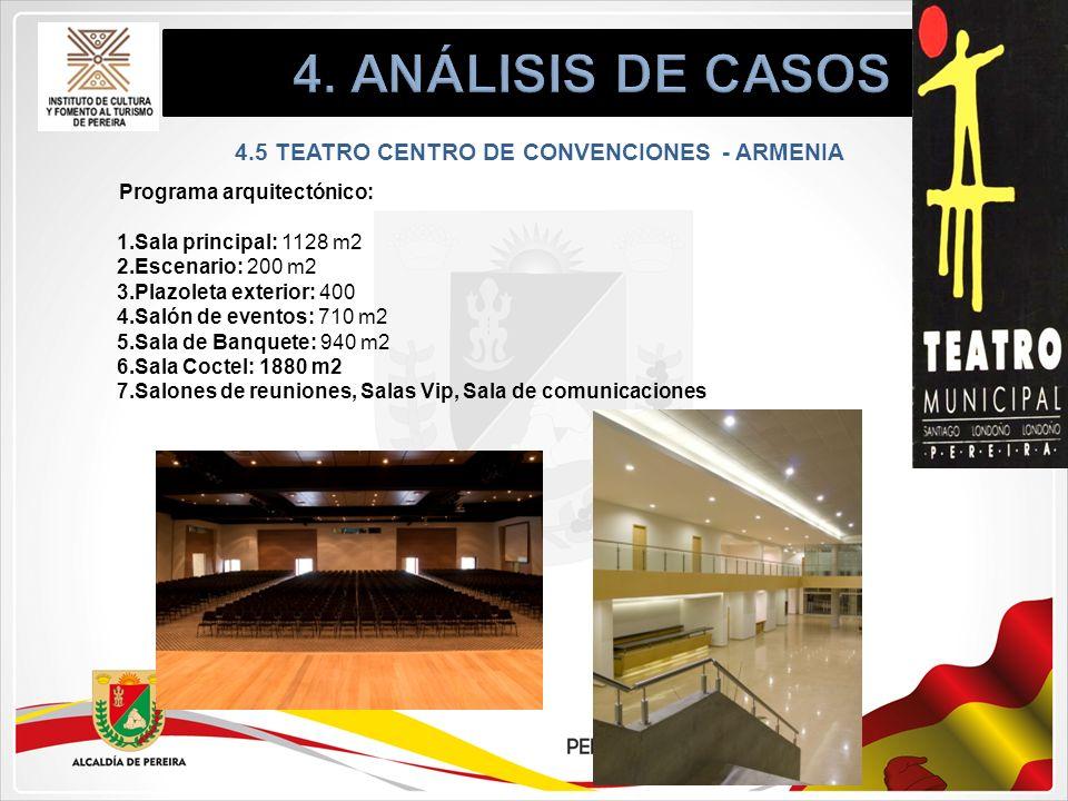 Programa arquitectónico: 1.Sala principal: 1128 m2 2.Escenario: 200 m2 3.Plazoleta exterior: 400 4.Salón de eventos: 710 m2 5.Sala de Banquete: 940 m2