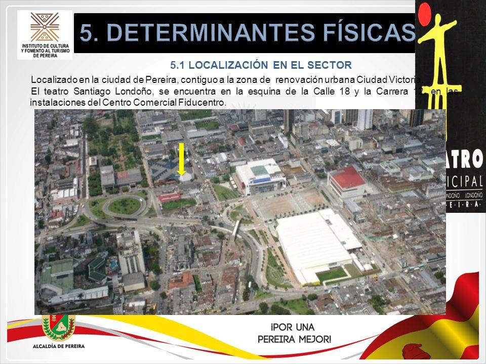 5.1 LOCALIZACIÓN EN EL SECTOR Localizado en la ciudad de Pereira, contiguo a la zona de renovación urbana Ciudad Victoria. El teatro Santiago Londoño,