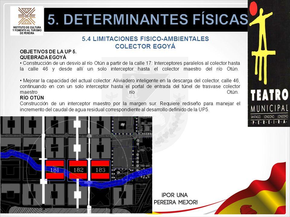 5.4 LIMITACIONES FISICO-AMBIENTALES COLECTOR EGOYÁ OBJETIVOS DE LA UP 5. QUEBRADA EGOYÁ Construcción de un desvío al río Otún a partir de la calle 17: