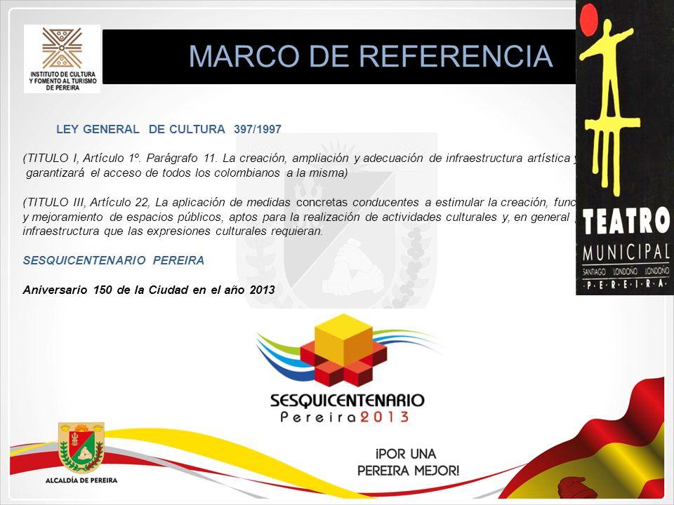 MARCO DE REFERENCIA LEY GENERAL DE CULTURA 397/1997 (TITULO I, Artículo 1º. Parágrafo 11. La creación, ampliación y adecuación de infraestructura artí