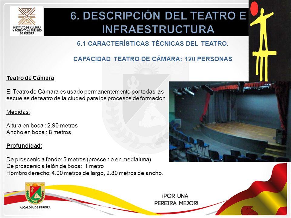 6.1 CARACTERÍSTICAS TÉCNICAS DEL TEATRO. CAPACIDAD TEATRO DE CÁMARA: 120 PERSONAS Teatro de Cámara El Teatro de Cámara es usado permanentemente por to