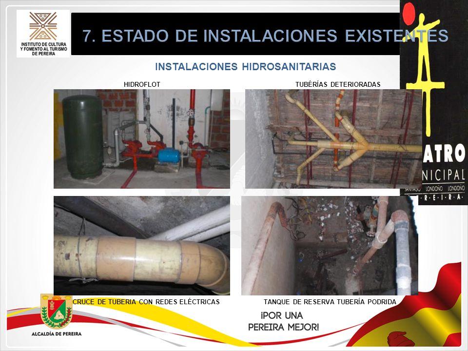 INSTALACIONES HIDROSANITARIAS HIDROFLOT CRUCE DE TUBERIA CON REDES ELÉCTRICASTANQUE DE RESERVA TUBERÍA PODRIDA TUBÉRÍAS DETERIORADAS