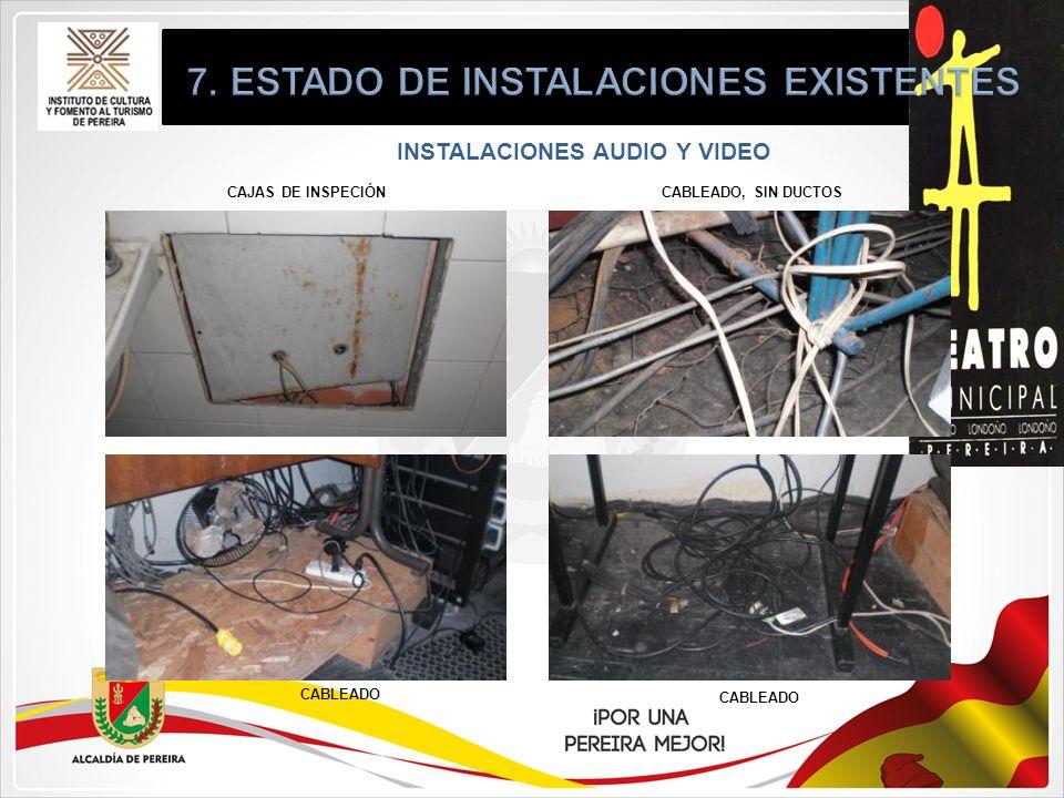 INSTALACIONES AUDIO Y VIDEO CAJAS DE INSPECIÓN CABLEADO CABLEADO, SIN DUCTOS