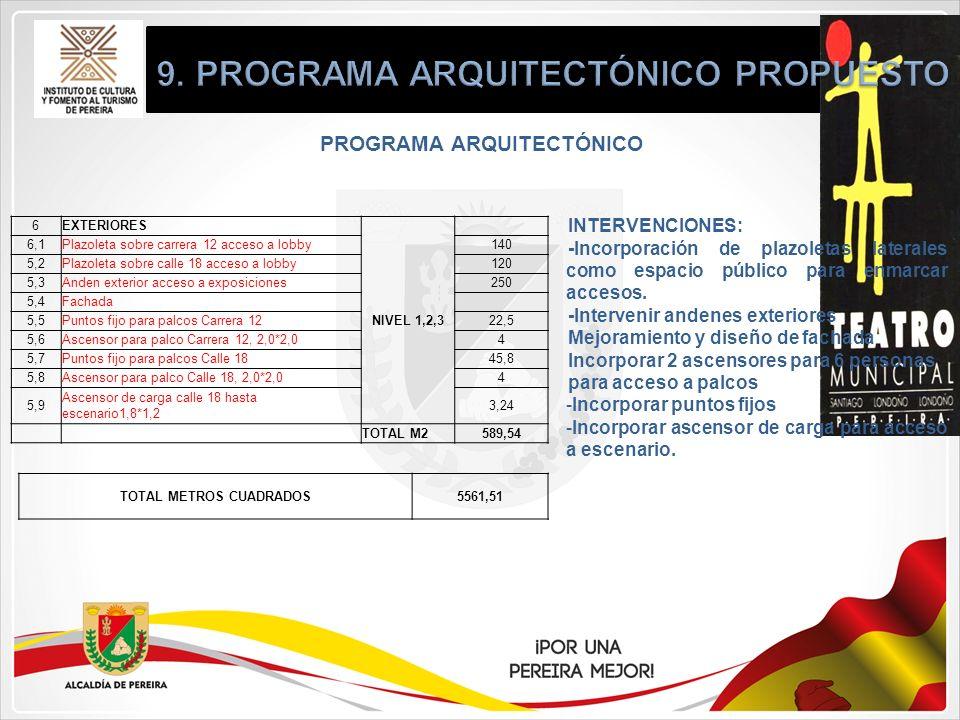 PROGRAMA ARQUITECTÓNICO INTERVENCIONES: -Incorporación de plazoletas laterales como espacio público para enmarcar accesos. -Intervenir andenes exterio