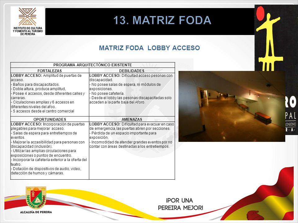 MATRIZ FODA LOBBY ACCESO PROGRAMA ARQUITECTÓNICO EXISTENTE FORTALEZASDEBILIDADES LOBBY ACCESO: Amplitud de puertas de acceso. - Baños para discapacita