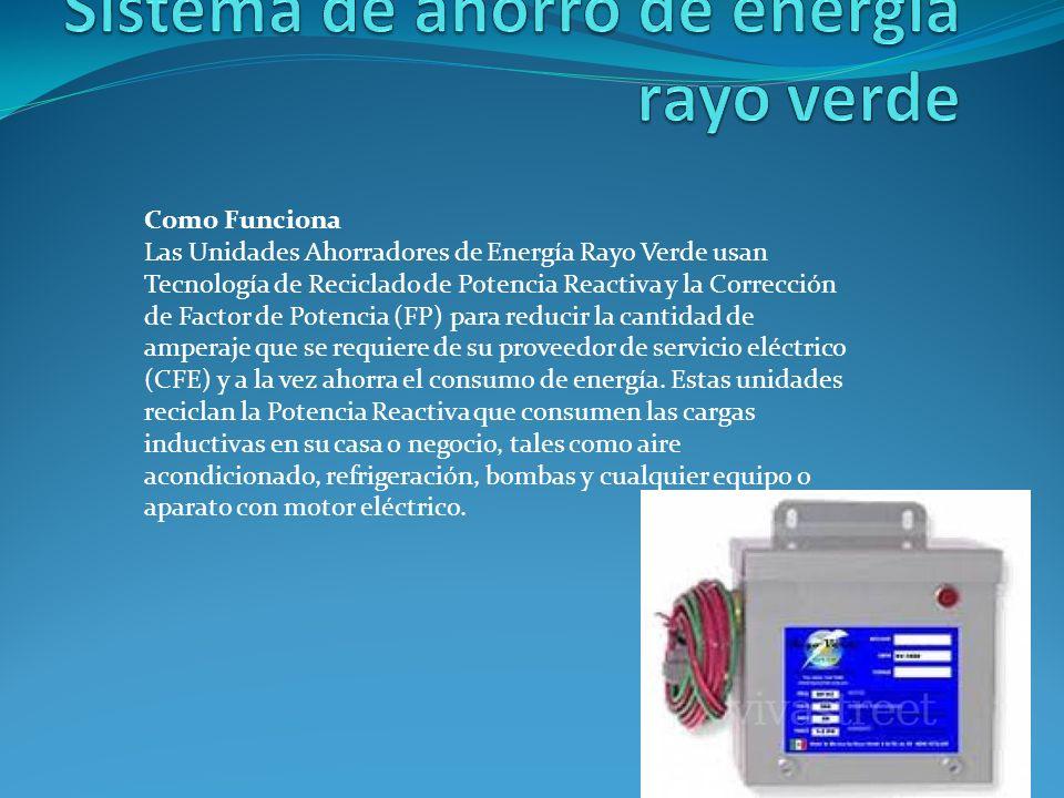Como Funciona Las Unidades Ahorradores de Energía Rayo Verde usan Tecnología de Reciclado de Potencia Reactiva y la Corrección de Factor de Potencia (