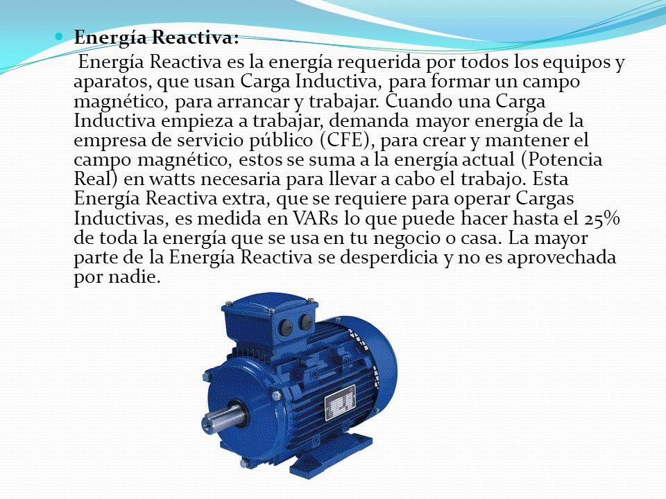 Energía Reactiva: Energía Reactiva es la energía requerida por todos los equipos y aparatos, que usan Carga Inductiva, para formar un campo magnético,