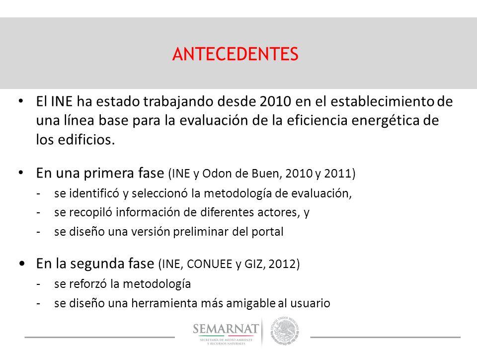 El INE ha estado trabajando desde 2010 en el establecimiento de una línea base para la evaluación de la eficiencia energética de los edificios. En una