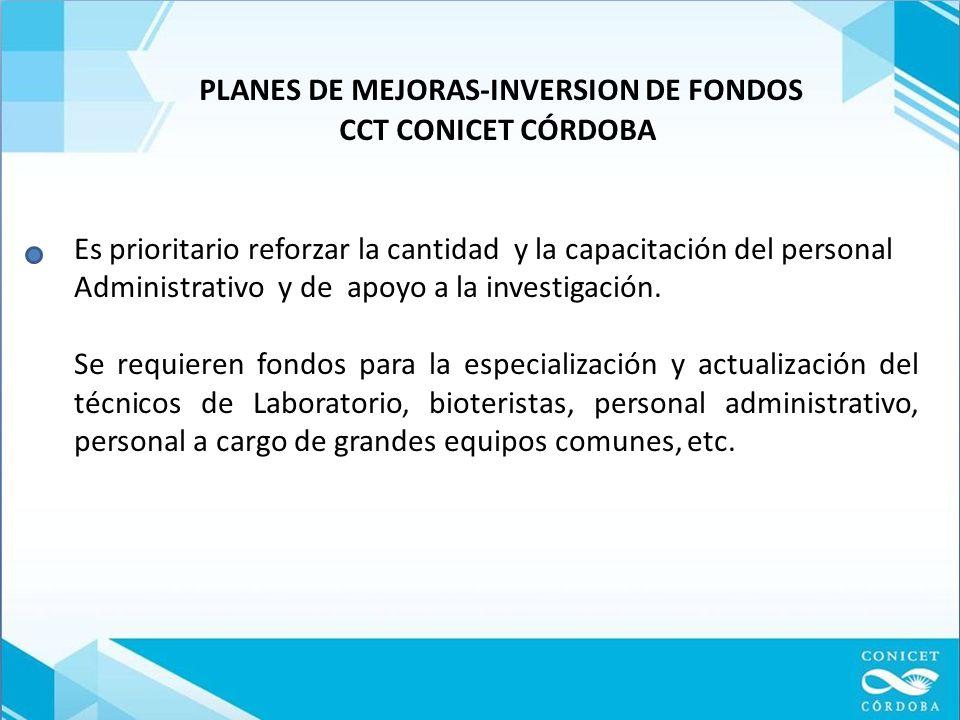 PLANES DE MEJORAS-INVERSION DE FONDOS CCT CONICET CÓRDOBA Es prioritario reforzar la cantidad y la capacitación del personal Administrativo y de apoyo a la investigación.