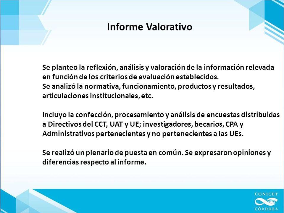 Informe Valorativo Se planteo la reflexión, análisis y valoración de la información relevada en función de los criterios de evaluación establecidos.