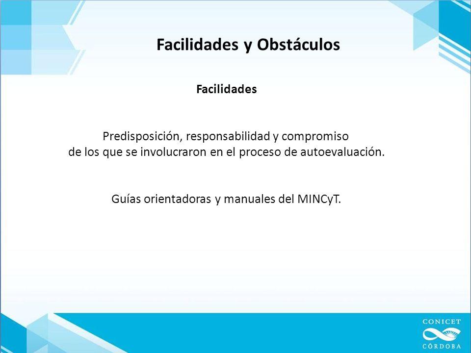 Facilidades y Obstáculos Facilidades Predisposición, responsabilidad y compromiso de los que se involucraron en el proceso de autoevaluación.