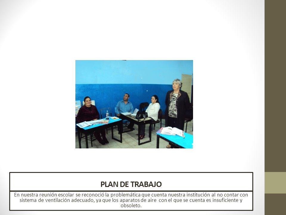 PLAN DE TRABAJO En nuestra reunión escolar se reconoció la problemática que cuenta nuestra institución al no contar con sistema de ventilación adecuad