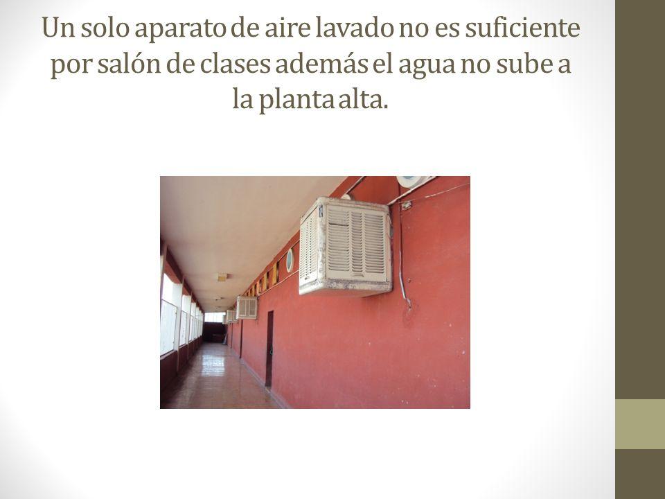 Un solo aparato de aire lavado no es suficiente por salón de clases además el agua no sube a la planta alta.