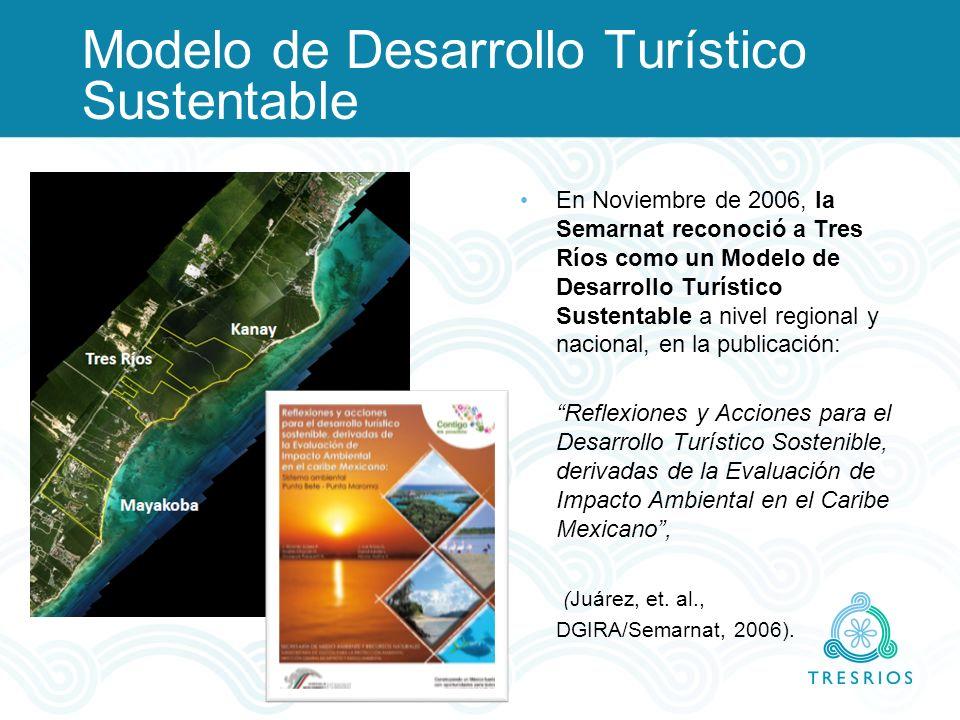 Modelo de Desarrollo Turístico Sustentable En Noviembre de 2006, la Semarnat reconoció a Tres Ríos como un Modelo de Desarrollo Turístico Sustentable