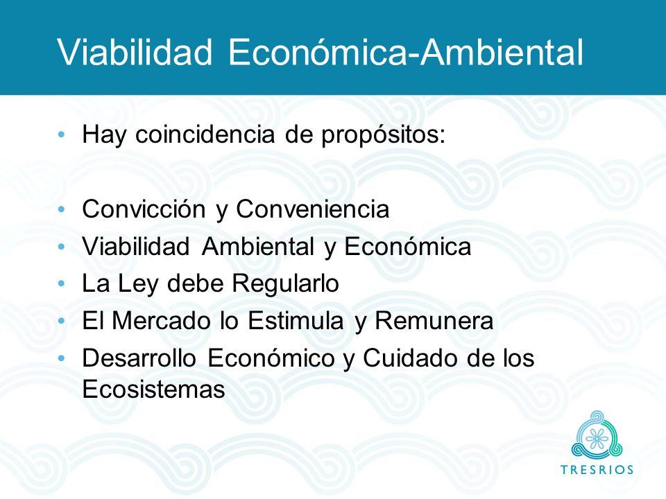 Viabilidad Económica-Ambiental Hay coincidencia de propósitos: Convicción y Conveniencia Viabilidad Ambiental y Económica La Ley debe Regularlo El Mer