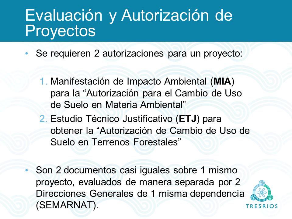 Evaluación y Autorización de Proyectos Se requieren 2 autorizaciones para un proyecto: 1.Manifestación de Impacto Ambiental (MIA) para la Autorización