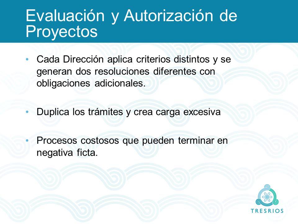 Evaluación y Autorización de Proyectos Cada Dirección aplica criterios distintos y se generan dos resoluciones diferentes con obligaciones adicionales