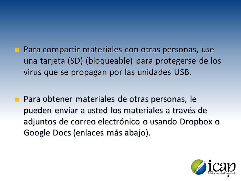 Para compartir materiales con otras personas, use una tarjeta (SD) (bloqueable) para protegerse de los virus que se propagan por las unidades USB. Par