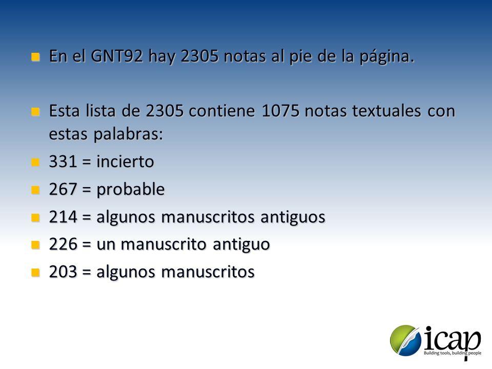 En el GNT92 hay 2305 notas al pie de la página.En el GNT92 hay 2305 notas al pie de la página. Esta lista de 2305 contiene 1075 notas textuales con es