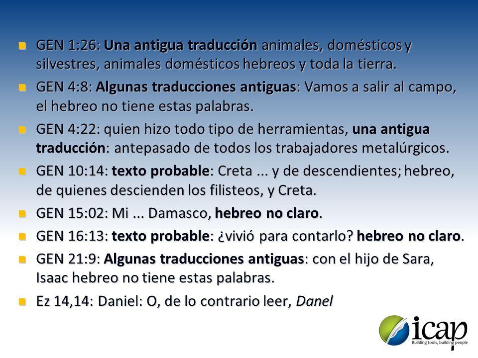 GEN 1:26: Una antigua traducción animales, domésticos y silvestres, animales domésticos hebreos y toda la tierra. GEN 1:26: Una antigua traducción ani