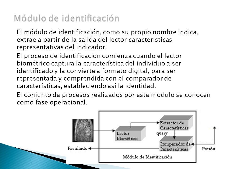El módulo de identificación, como su propio nombre indica, extrae a partir de la salida del lector características representativas del indicador. El p