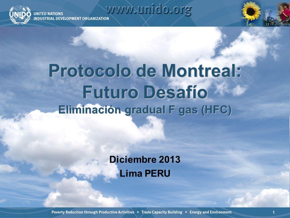 1 Protocolo de Montreal: Futuro Desafío Eliminación gradual F gas (HFC) Protocolo de Montreal: Futuro Desafío Eliminación gradual F gas (HFC) Diciembre 2013 Lima PERU