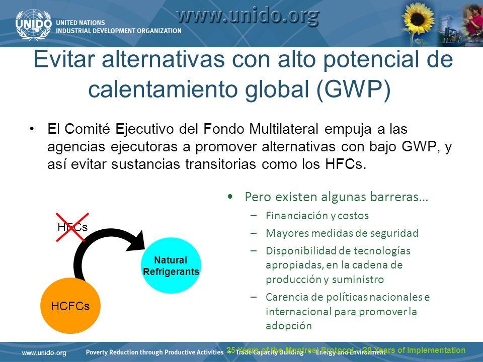 www.unido.org Evitar alternativas con alto potencial de calentamiento global (GWP) El Comité Ejecutivo del Fondo Multilateral empuja a las agencias ejecutoras a promover alternativas con bajo GWP, y así evitar sustancias transitorias como los HFCs.