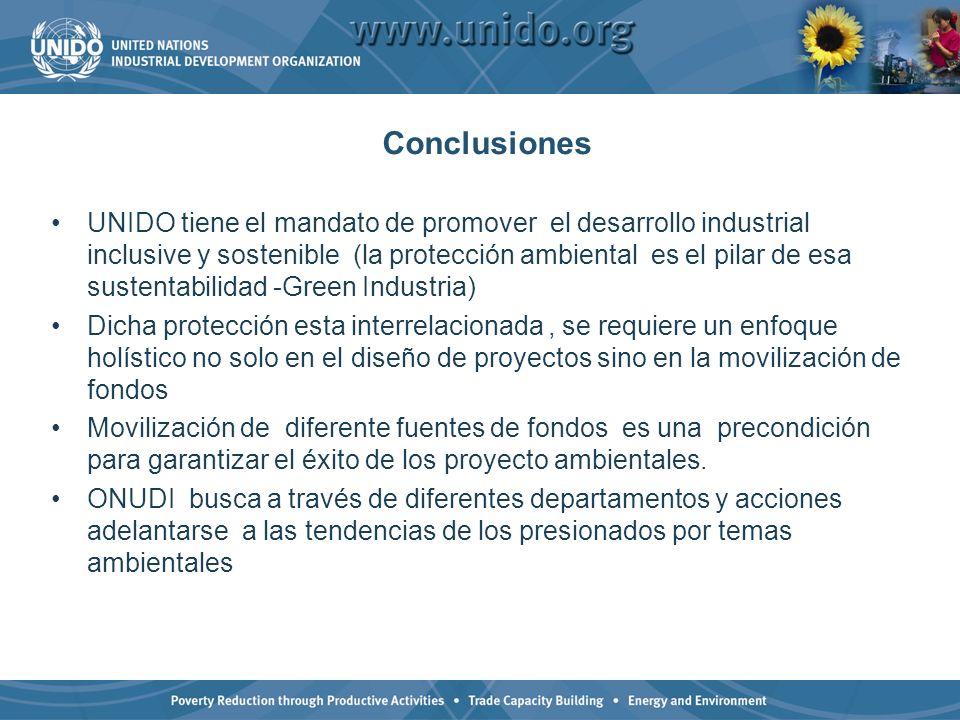 Conclusiones UNIDO tiene el mandato de promover el desarrollo industrial inclusive y sostenible (la protección ambiental es el pilar de esa sustentabi