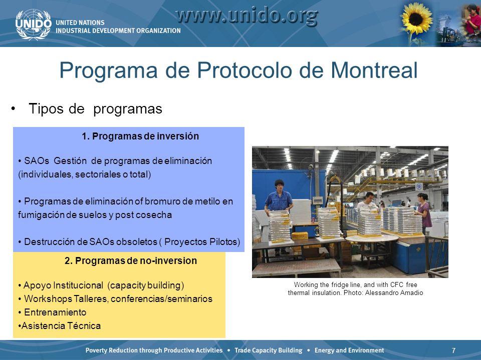 7 Programa de Protocolo de Montreal Tipos de programas 1. Programas de inversión SAOs Gestión de programas de eliminación (individuales, sectoriales o